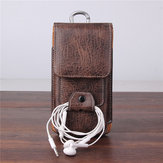 Multiple Sizes Men PU Leather Solid 6.3 inch Phone Bag Purse Casual Waist Bag Easy Carry