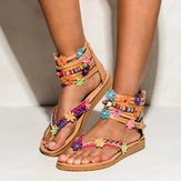 US Size5-12 Bohemian Zipper Flat Bottomed Flowers Sandals