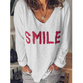 Women Letter Pattern Casual V-Neck Long Sleeve T-Shirts