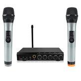 Système de Microphone sans fil Bluetooth VHF double canal micro portable Mini mélangeur de chant Portable Machine de karaoké