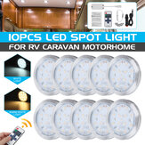 10PCS 12V LED Interior Lamp Cabinet Light Downlight with Remote Control for VW T4 T5
