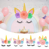 DIY Unicorn Paper Flowers Kit with Glitter Horn Ears Eyelashes Room Decor Party Supplies Decorations Backdrop for Kids