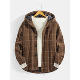 Mens Plaid Button Up Slant Pocket Woolen Cloth Hooded Jacket