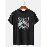 Mens Multi-Color Tiger Print Loose Casual Breathable O-Neck T-Shirts