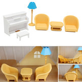 Dollhouse Sofa Piano Table Miniature Furniture Sets para Sylvanian Family Accessories Kids Gift Toys