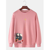 Mens Funny Cartoon Print Cotton Solid Color Crew Neck Pullover Sweatshirts