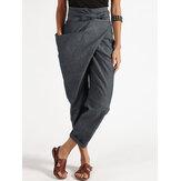Women Zipper Casual Belt Harem Pants Irregular Loose Trousers