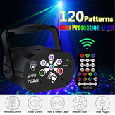 Projetor Sound Activated 120 Patterns LED RGB + UV Laser Luz de palco DJ Disco KTV Party com Controle Remoto Christmas Decorations Clearance Christmas Lights