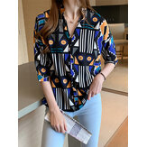 Women Geometric Graphics Print Lapel Collar Daesign Shirts