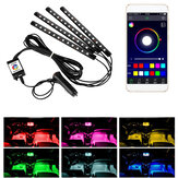 DC12V IP65 48LED Strip Light 4PCS 5050 SMD RGB bluetooth App Control Car Ambiance Lampe intérieure