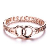 Creative Handcuffs Linked Rose Gold Finger Rings Simple