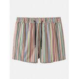 Mens Multicolor Striped Pocket Holiday Casual Drawstring Board Shorts