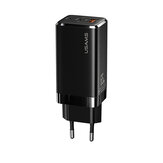 USAMS T33 65W GaN Fast Charger Mini USB Power Adapter USBC 3 Port Wall Charger EU Plug for Notebook Tablet Switch Mobile Phone