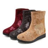 Embroidered Flower Fur Lining Cotton Ankle Boots For Women
