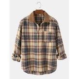 Camisas masculinas xadrez vintage casual de algodão de manga longa Henley com bolso