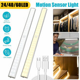24/40/60LED Motion Sensor Closet Lights Wireless USB Rechargeable Energy Saving LED Night Light Bar Safe Lights for Closet Cabinet Wardrobe Stairs