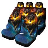 1/7 SZTUK Uniwersalny pokrowiec na siedzenie samochodowe Starry Sky Wolf Design Ochrona przedniego i tylnego siedzenia