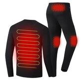 30-50 ℃ Hombres Mujer Conjunto de ropa interior con calefacción eléctrica Camisa + Pantalón Ropa interior Ropa de invierno cálido Ropa térmica al aire libre Senderismo Esquí Moto Camisetas de ciclismo Pantalones Traje