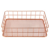 24X16X6 cm Elegant Rose Gold Square Iron Desktop Storage Case Organizer voor Office Home