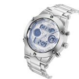 ASJ Men Fashion Full Metal impermeabile Dual Display Orologio digitale