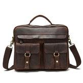 Couro Genuíno Sling Briefcase Vintage Handbag Dual Use Messenger Bolsa Para Homens