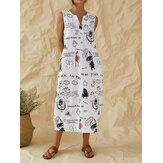 Cartoon Fun Graffiti Print Sleeveless V-neck Casual Dress With Pocket