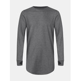 Mens Solid Color Cotton Ripped Cuff Long Sleeve Loose T-Shirts