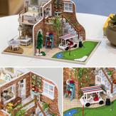Tour avec LED + meubles maison de poupée Golf Hoomeda 1/24 de bricolage en bois