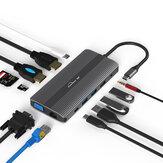 Blueendles HP1201 HUB multipuerto USB-C Type C Hub adaptador USB con 1 * DP / 1 * HDMI / 1 * VGA / 1 * RJ45 / 1 * SD / 1 * TF /3*USB3.0 / 1 * USC-C (Type-C ) /1*3.5mm Audio / 1 * PD USB-C