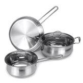 Ev Tencere Seti 3 Parça Paslanmaz Çelik Mutfak Pot Pan Tencere Eşyaları Kiti