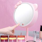 Espelho LED Maquiagem com tela de toque USB para mesa com luz de maquiagem e espelho para maquiagem