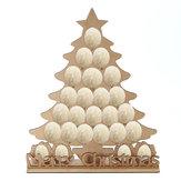 24 Oval Çikolata Raf Ahşap Advent Takvimi Noel Ağacı Geri Sayım Ev Dekorasyonu