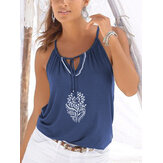 Floral Adjustable Neck Strap Halter Sleeveless Cami For Women