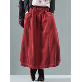 Women Vintage Corduroy Elastic Waist Baggy Winter Skirts