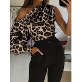 Leopard Print Off Shoulder Lantern Sleeve Casual Blouse
