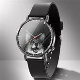 ファッションクォーツ時計アニマルプリントメンズビジネスウォッチかわいい白黒犬猫パターン女性クォーツ時計