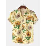Mens girassol impressão floral dobrar colarinho de manga curta camisas casuais de férias