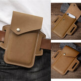 Men Genuine Leather Vintage 6.3 inch Phone Bag Waist Bag Belt Bag