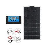 100W 12V Monocrystalline Solar Panel + Solar Controller + One Pair 3m Extension Cable + 2*Alligator Clip + 4*Mounting Bracket Kit