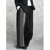 Women Vintage Stripe Print Cotton Elastic Waist Wide Leg Pants