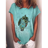 Cartoon Owl Print Summer Short Sleeve Women Casual T-shirts