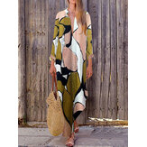 Bohemian Women Manga comprida V Neck Daily Casual Floral Print Maxi Dress