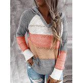 Chandail tricoté décontracté quotidien à capuche pour femmes