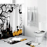 Halloween Style Shower Curtain Bathroom Toilet Cover Non-slip Pedestal Rug Bath Mat Waterproof