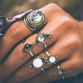 6 stk. Vintage Knuckle Ring Set Cobblestone Geometrisk Finger