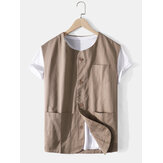 Mens Cotton Solid Color Pocket Button Up Sleeveless Casual Vests