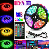 1M 3M 5M USB RGB 5050 Lampu LED Strip Non-waterproof / Tahan Air Latar Belakang TV Lampu PC dengan 24 Tombol Remote Control