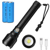 XHP90 9000LM High Lumen Zoomable Flashlight Set With 2x 26650 Battery, CAMTOA Rechargeable&Power Indicator Strong LED Torch Emergency For Home Outdoor