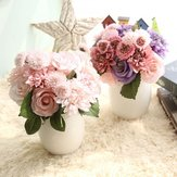 Rose Flores artificiais Bridal Bouquet Fake Flower for Home Wedding Decoration
