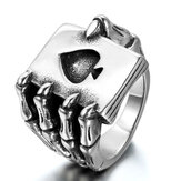 Punk Vintage Stainless Steel Poker A Rings Trends Eagle Claw Skull Ring Claw Playing Card Ring for Men
